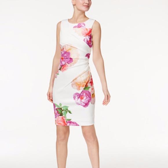 ca10e3a0b8d9b Calvin Klein Dresses | Printed Starburst Sheath Dress Size 6 | Poshmark