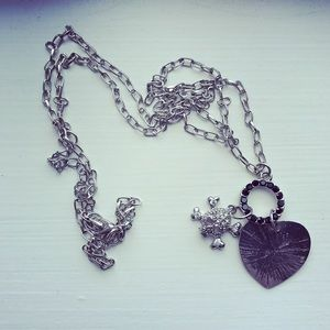 Silver skull & heart long chain necklace