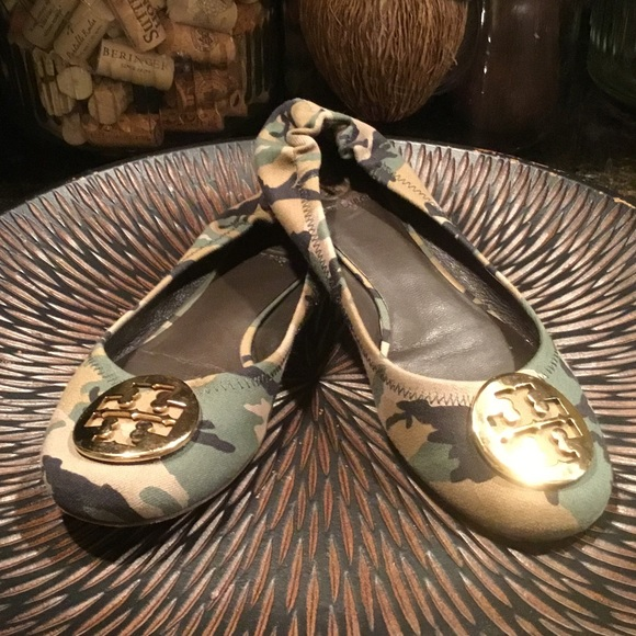 e44ad60344 Tory Burch Shoes | Rare Fatigue Camo Reva Ballet Flat 8 | Poshmark