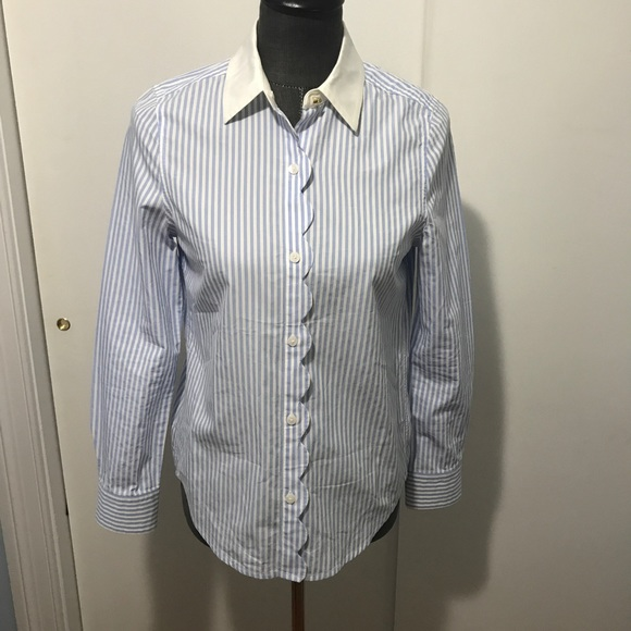 91d1b34672 Draper James Tops - Draper james blue white pinstripe scalloped blouse