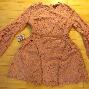 Pink lace long sleeve dress