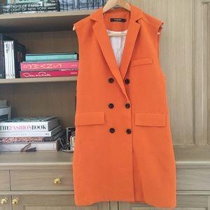 Jackets & Blazers - Orange Sleeveless along Vest