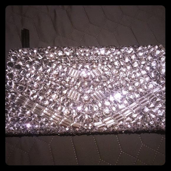 50e6e259ad Victoria's Secret Bags | Limited Edition Vs Jeweled Silver Sequin ...