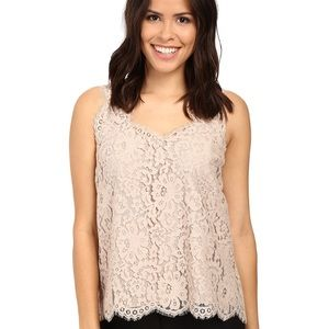 Joie Cina Scalloped Lace Tank in Mushroom