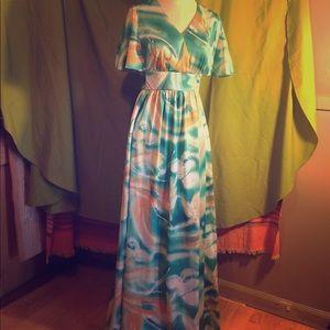 Vintage Hawaiian watercolor-print formal gown
