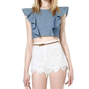 Nasty Gal frill me crop top
