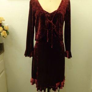 A.B.S by Allen Schwartz Burgundy Midi Dress