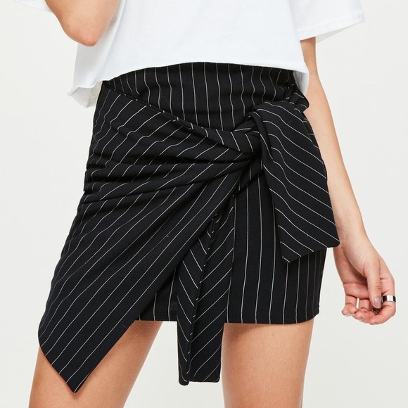 4afb9b3db006 Missguided Skirts | Asymmetric Pinstripe Tie Wrap Skirt | Poshmark