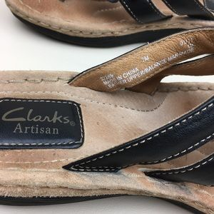 acf72270af49 Clarks Shoes - Clarks Artisan Black Flower Leather Flip Flops 7