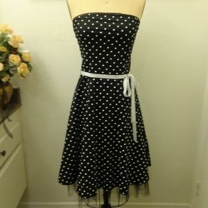 The Blue Age Polka Dot Strapless Cotton Dress