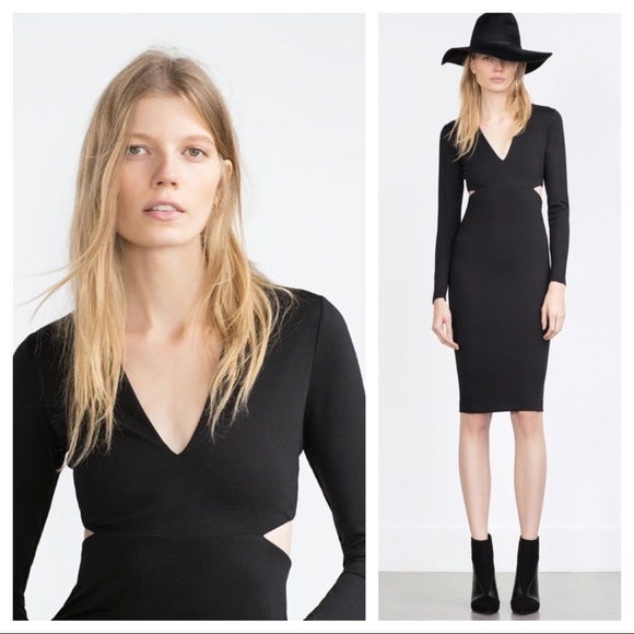 Zara Dresses New Black Cutout Dress Poshmark