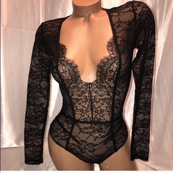 56f1f02b64d VS lingerie teddy bodysuit long sleeve black lace. NWT. Victoria's Secret