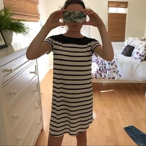 Midi black and white striped dress