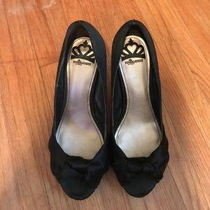 Black satin heels
