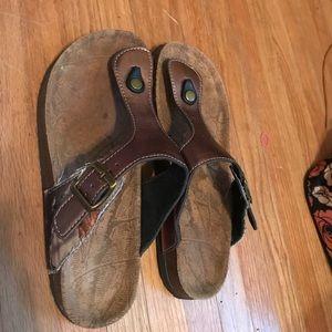 Bronze and camo sandals