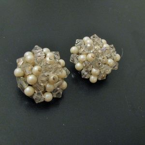 Signed LAGUNA pearl and clear beaded clip earrings