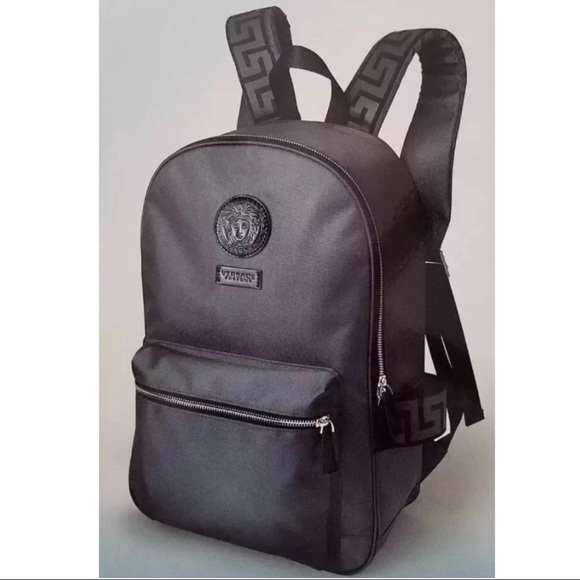edcd715759f1 Versace Medusa Head Logo Gray And Black Backpack