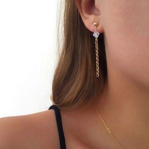 Crystal Bead Drop Dainty Earrings