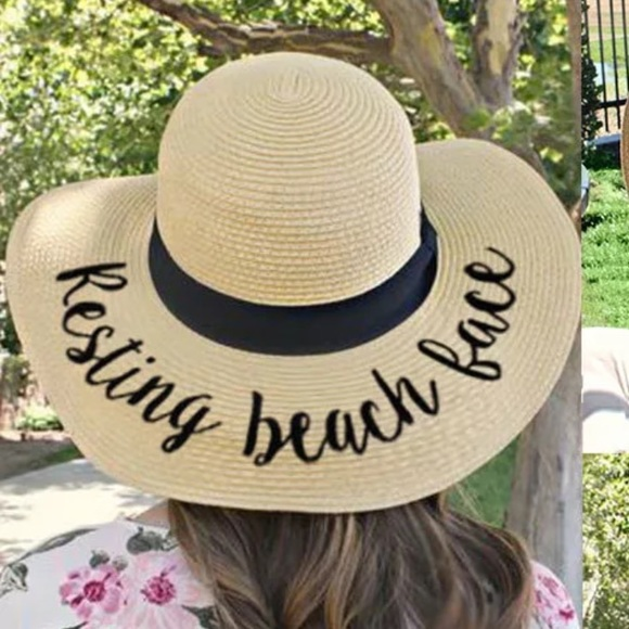 🕶RESTING BEACH FACE FLOPPY STRAW HAT-NEW🕶 60d161c0760