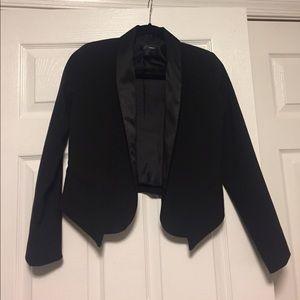 AQUA Black Satin Lapel Open Cropped Blazer