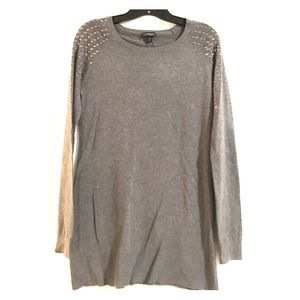 Grey sweater with silver studs on the shoulder