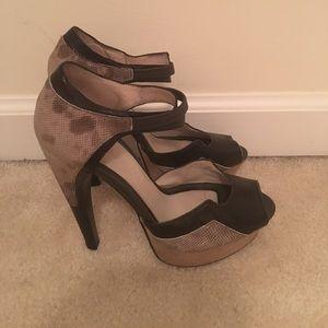 Jason Wu platform peep toe snake skin heels
