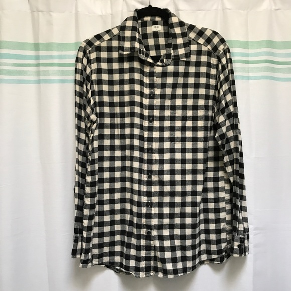 8bc65d66 undefined Tops | Uniqlo Black And White Checkered Flannel Shirt L ...