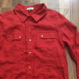 Calvin Klein Tops - Calvin Klein Large 100% Linen Button Up Shirt