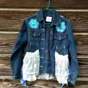 Upcycled Embellished Jacket Mermaid Lace Unique