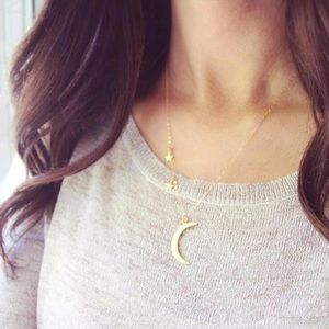 ✨Gold Plated Crescent Moon & Stars Necklace✨