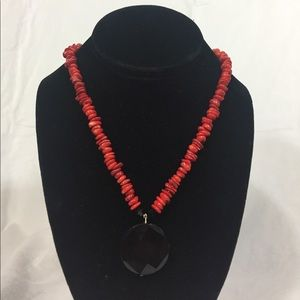Black and Red stone bead Necklace
