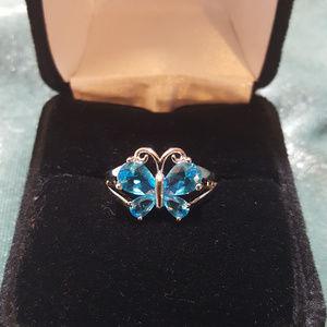 Jewelry - NWOT - Blue Topaz Butterfly ring, sz 6