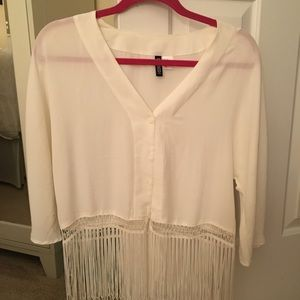 White button up fringe thin sweater