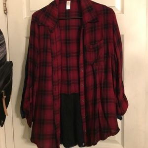 Tops - Burgundy flannel