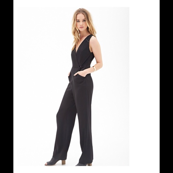 9686759807 Forever 21 Pants - FOREVER 21 Black Faux Wrap Wide Leg Jumpsuit