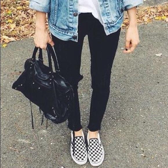 b17ad9434d78 Vans Checkered Slip On Sneakers