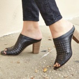 Perforated Peep Toe Mules