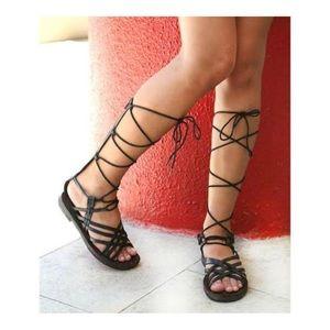 Black Leather Boho Chic Gladiator Sandals