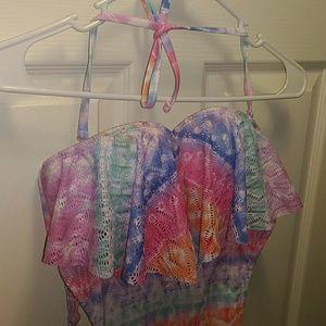 Multicolored crochet swim suit