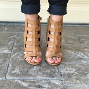 Chic Tan Caged Gladiator Chunky Heel Sandal