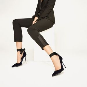 Zara navy blue velvet high heel shoes