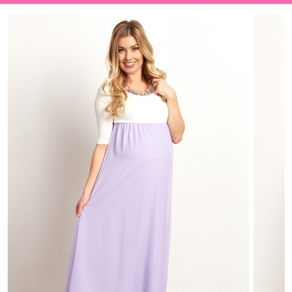 2d0c20a5d786 Pinkblush Maternity Dresses | Lavender Chiffon Colorblock Maternity ...