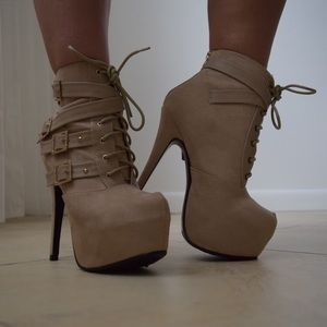 Shoes - Blush Nude Platform Lace Up Heels