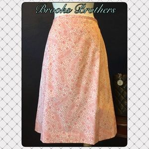 BROOKS BROTHERS Skirt 6 Paisley Cotton Stretch