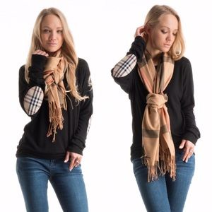Plaid Elbow Patch Brushed Knit Tunic