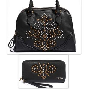 GUESS Seun Skull and Stud Satchel and Wallet