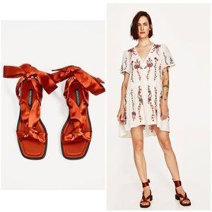 NWT ZARA Lace Up Satin Burnt Orange Russet Sandals