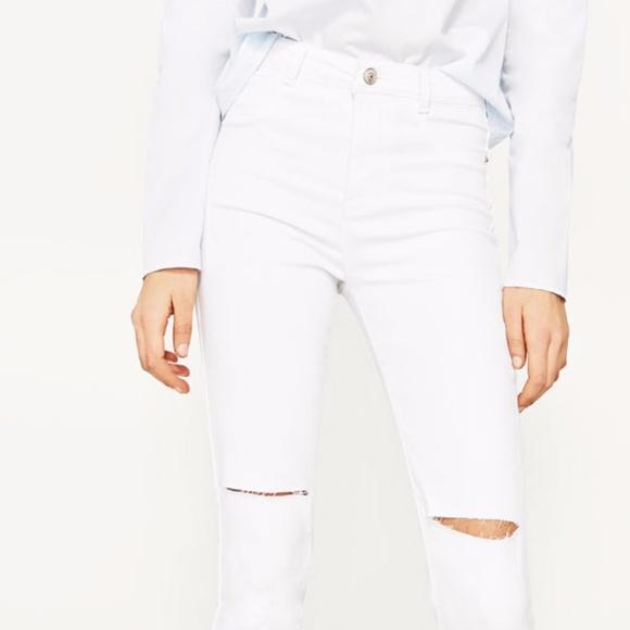 bf1236f5 Zara Jeans | High Waist Ripped Knee White | Poshmark