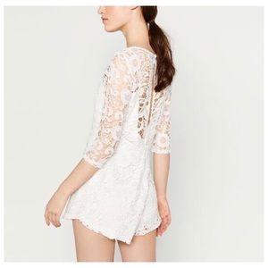6a52dcf8 Zara Pants | Short Guipure Lace Jumpsuit | Poshmark