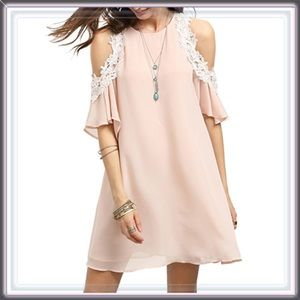 Dresses & Skirts - 🆕 Lace Cold Shoulder Blush Tunic Mini Slip Dress